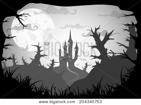 Gray Vector Halloween Background with castle on hill with strange forest at night