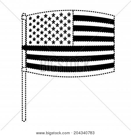 flag united states of america in pole waving out in dotted monochrome silhouette vector illustration