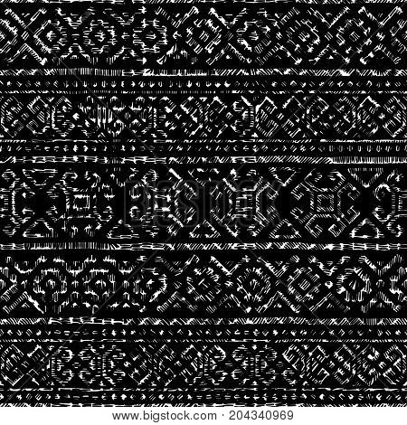 Seamless geometric ornament. Black and white background. Handmade. Embroidery, fancywork, sewing, hobby. Vector illustration.