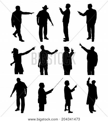 People pointing showing something. Isolated white background. EPS file available.
