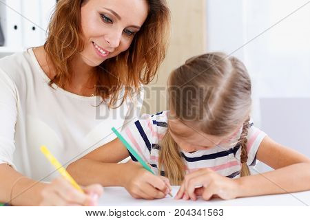 Blond Little Girl Hold In Arm Pencil Drawing Something