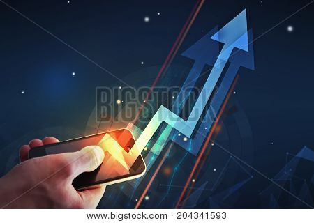 Male hand holding smartphone with abstract upward arrow. Finance and success concept. 3D Rendering