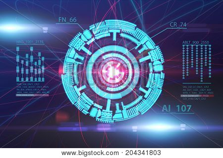 Futuristic digital button background. Technology and innovation concept. 3D Rendering