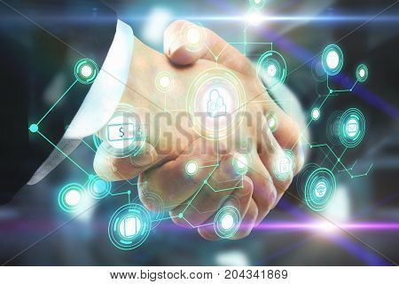 Side view and close up of handshake with abstract digital business network hologram. Teamwork and innovation concept. Double exposure