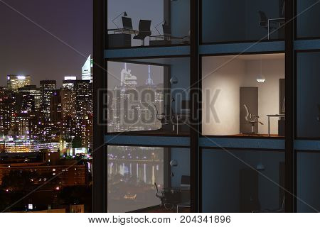 Modern glass building with visible office interiors on iiluminated night city background. Business finance and workplace concept. 3D Rendering