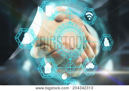 Side view and close up of handshake with abstract digital business network hologram. Teamwork and interface concept. Double exposure