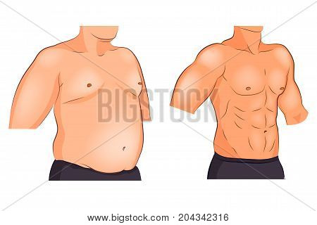 vector illustration of a male torso before and after weight loss and sports
