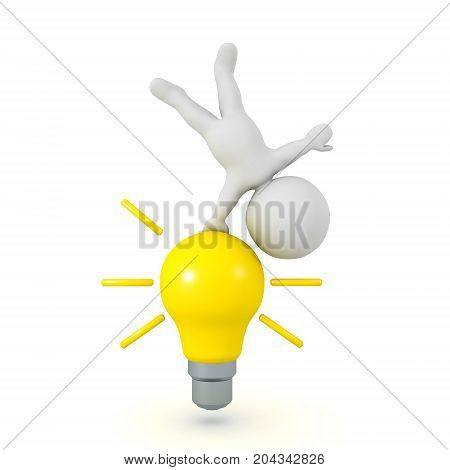 3D Character doing a handstand on a bright yellow light bulb. Isolated on white.