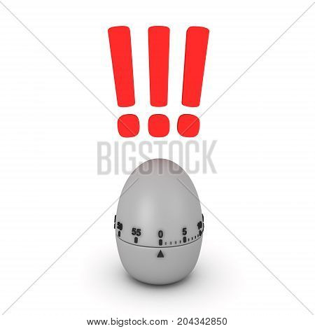 3D illustration of pomodoro egg timer ringing. Isolated on white.