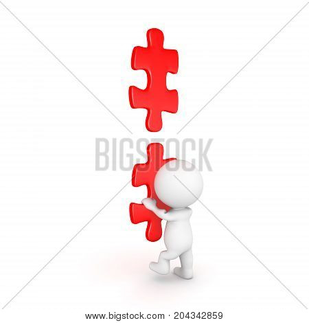 3D Character climbing on ladder made of red puzzle pieces. Isolated on white.