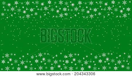 Christmass and New Year Freen Background with snowflakes. Flat Vector Illustration