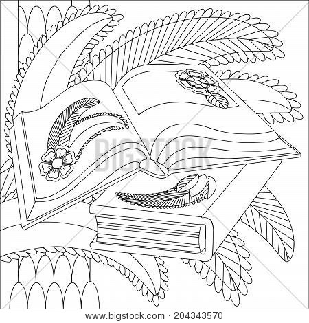 Open books on a background of stylized palm leaves. The second book is closed