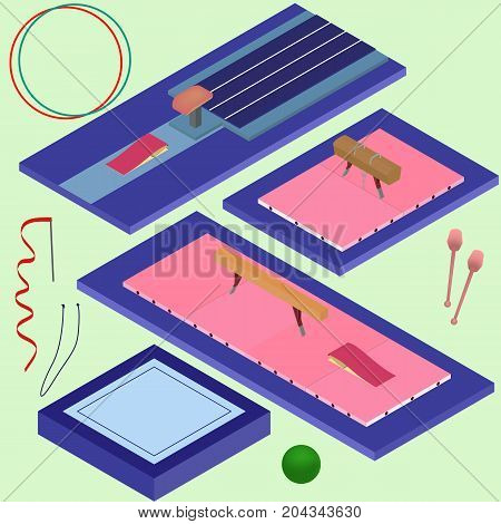 Isometric gymnastics tools. Set of sporting elements in vector illustration