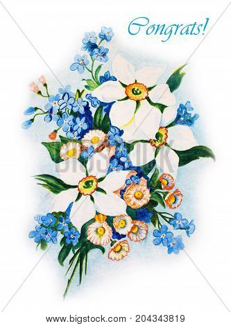 Elegant card with flowers narcissus and forget-me
