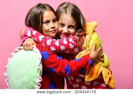 Girls With Loose Hair Hug. Kids With Smiling Faces
