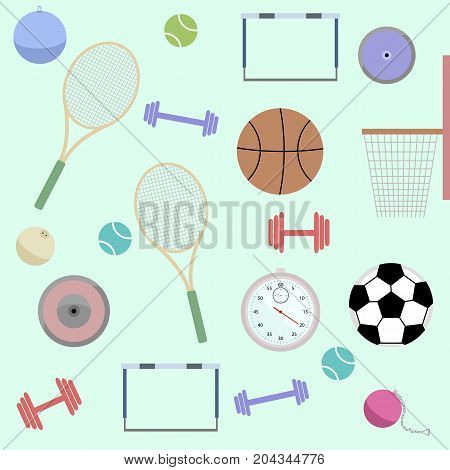 Seamless Pattern of Sport inventory goods. Flat Design Vector Illustration