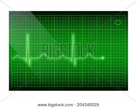 Vector electrocardiogram background. Green line heart rate on the screen.