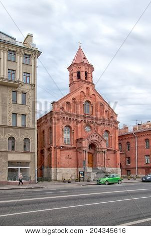 SAINT - PETERSBURG, RUSSIA - SEPTEMBER 2, 2017: St. John Church (Jaani kirik) on Dekabristov Street. It is Estonian Evangelical Lutheran Church. The church also has a concert hall
