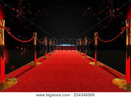3d rendering long red carpet between rope barriers with stair at the end