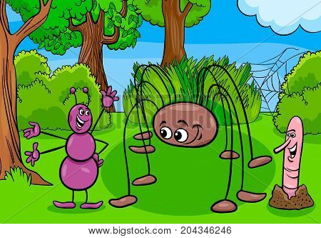 Ant And Opilion Insect Cartoon Characters