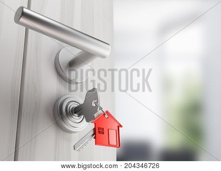 Door with keys, new home, open room, 3d render illustration