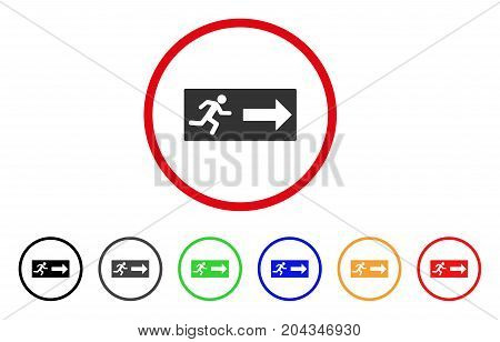 Emergency Exit icon. Vector illustration style is a flat iconic emergency exit gray rounded symbol inside red circle with black, gray, green, blue, red, orange color variants.