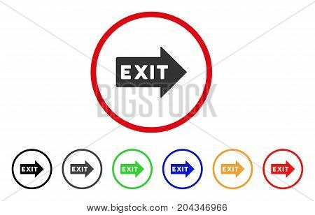 Exit Arrow icon. Vector illustration style is a flat iconic exit arrow grey rounded symbol inside red circle with black, gray, green, blue, red, orange color additional versions.
