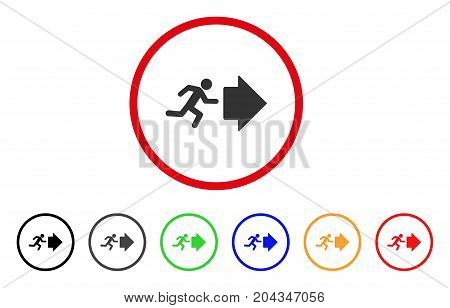 Exit Direction icon. Vector illustration style is a flat iconic exit direction gray rounded symbol inside red circle with black, gray, green, blue, red, orange color additional versions.