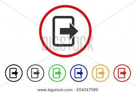Exit Door icon. Vector illustration style is a flat iconic exit door grey rounded symbol inside red circle with black, gray, green, blue, red, orange color versions.