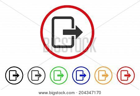 Exit Door icon. Vector illustration style is a flat iconic exit door grey rounded symbol inside red circle with black, gray, green, blue, red, orange color additional versions.