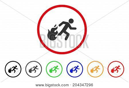 Fired Running Man icon. Vector illustration style is a flat iconic fired running man grey rounded symbol inside red circle with black, gray, green, blue, red, orange color additional versions.