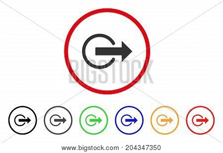 Logout icon. Vector illustration style is a flat iconic logout gray rounded symbol inside red circle with black, gray, green, blue, red, orange color versions.