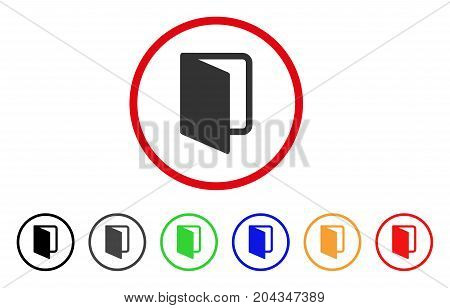 Open Door icon. Vector illustration style is a flat iconic open door gray rounded symbol inside red circle with black, gray, green, blue, red, orange color variants.