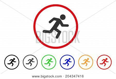 Running Man icon. Vector illustration style is a flat iconic running man gray rounded symbol inside red circle with black, gray, green, blue, red, orange color additional versions.