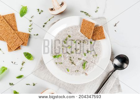 Mushroom Cream Soup With Herbs