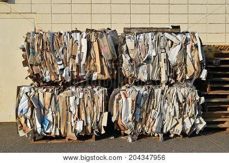Cardboard Bundled For Recycling