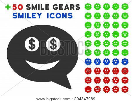 Millionaire Smiley Message pictograph with bonus smiley pictures. Vector illustration style is flat iconic symbols for web design, app user interfaces.