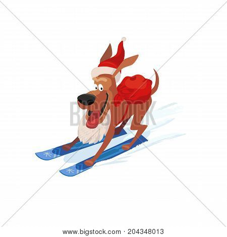 Skiing cute dog icon. Domestic pet on mountain ski in Santa hat. Vector cartoon animal isolated on white.