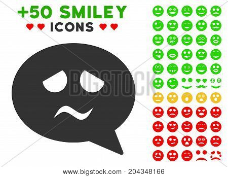 Sadness Smiley Message pictograph with bonus smile icon set. Vector illustration style is flat iconic symbols for web design, app user interfaces.