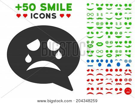 Tiers Smiley Message icon with bonus smile clip art. Vector illustration style is flat iconic elements for web design, app user interfaces.