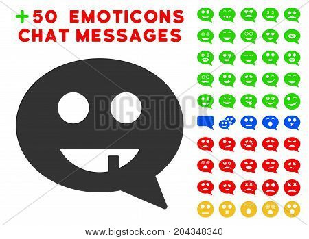 Toothless Smiley Message pictograph with bonus avatar symbols. Vector illustration style is flat iconic symbols for web design, app user interfaces.