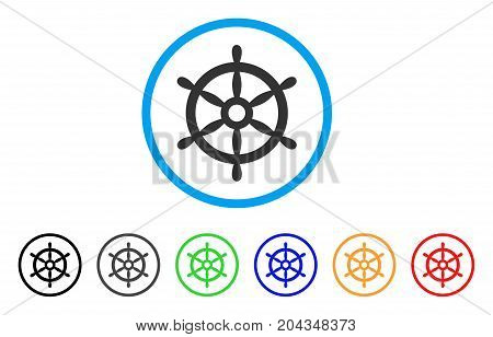 Boat Steering Wheel icon. Vector illustration style is a flat iconic boat steering wheel gray rounded symbol inside light blue circle with black, gray, green, blue, red, orange color variants.