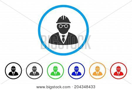Clever Engineer icon. Vector illustration style is a flat iconic clever engineer gray rounded symbol inside light blue circle with black, gray, green, blue, red, orange color additional versions.