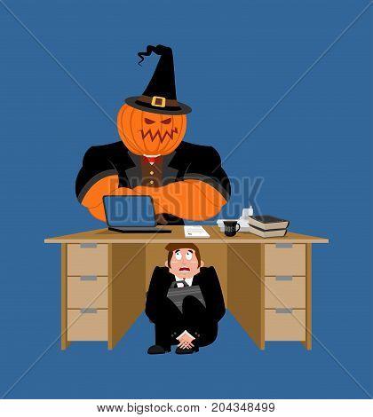 Businessman Scared Under Table Of Pumpkin. Frightened Business Man Under Work Board. Boss Fear Offic