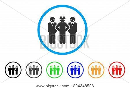 Developer Team icon. Vector illustration style is a flat iconic developer team grey rounded symbol inside light blue circle with black, gray, green, blue, red, orange color additional versions.