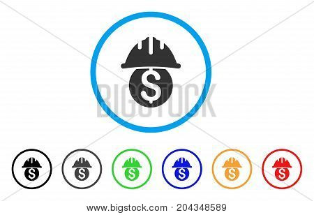 Dollar Safety Helmet icon. Vector illustration style is a flat iconic dollar safety helmet gray rounded symbol inside light blue circle with black, gray, green, blue, red, orange color versions.