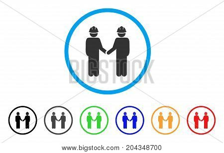 Engineer Persons Handshake icon. Vector illustration style is a flat iconic engineer persons handshake grey rounded symbol inside light blue circle with black, gray, green, blue, red,