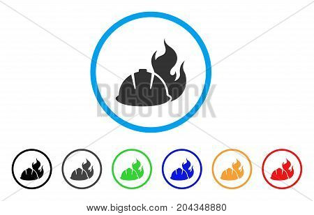 Fire Protection Helmet icon. Vector illustration style is a flat iconic fire protection helmet grey rounded symbol inside light blue circle with black, gray, green, blue, red, orange color variants.
