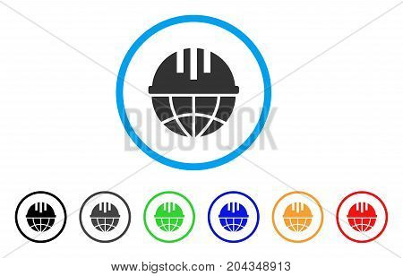 Global Helmet icon. Vector illustration style is a flat iconic global helmet grey rounded symbol inside light blue circle with black, gray, green, blue, red, orange color versions.
