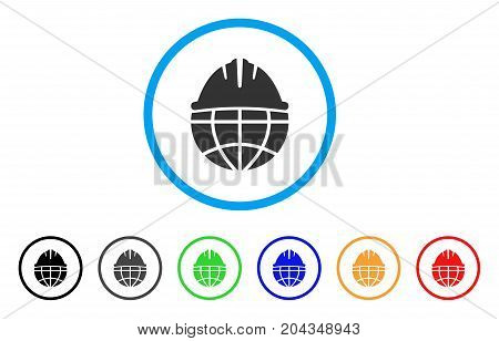 Global Helmet icon. Vector illustration style is a flat iconic global helmet gray rounded symbol inside light blue circle with black, gray, green, blue, red, orange color variants.